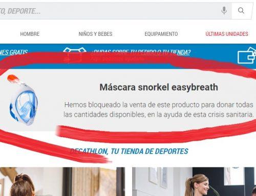 Decathlon bloquea la venta de escafandras para donarlas a los hospitales
